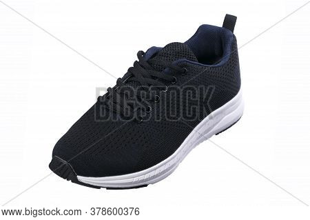 Sport Shoes. Black Fabric Sneaker With White Sole.