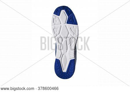 Bottom Of Sneakers. Blue-white Sole Sneaker.light-colored Shoes.