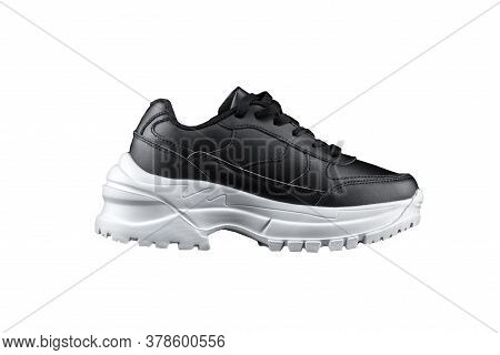 Black Sneaker With White Sole. Sport Shoes.