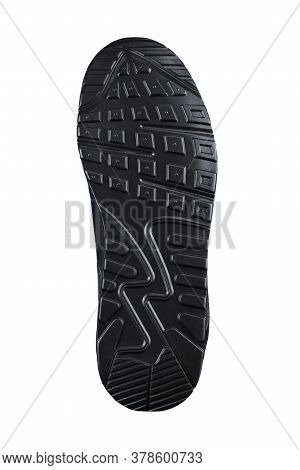 Black Fluted Shoe Sole On A White Background.