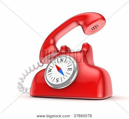 Red telephone with vintage compass.