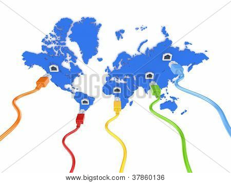 Colorful patchcords connected to blue map.