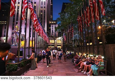 New York / United States - 03 Jul 2017: Rockefeller Center At Night In New York, United States