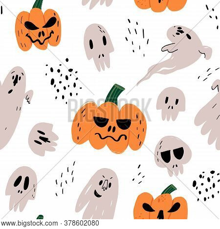 Halloween Vector Seamless Pattern With Funny Hand Drawn Pumpkins With Spooky Smiles, Frightening Gho