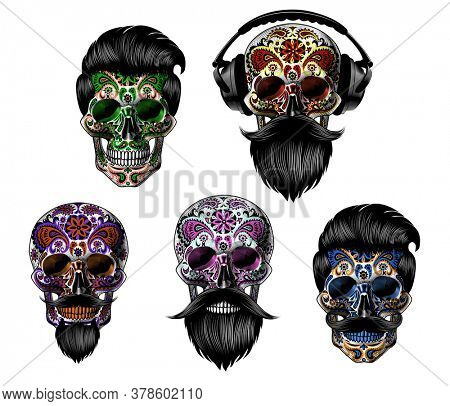 Set of hand drawn mexican bearded sugar skull isolated on white background. Design element for poster, card, banner, t shirt, emblem, sign