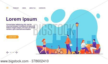 People Relaxing At Park In Summer Flat Vector Illustration. Woman Jogging And Doing Exercise. Couple