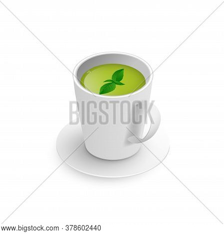 Realistic 3d Cup Of Hot Aromatic Healthy Herbal Chamomile Tea. A Teacup Isometric View With Flowers