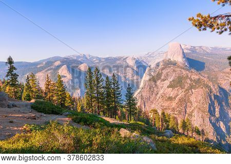 The Aerial Panorama Of Washburn Point In Yosemite National Park, California, United States. View Fro