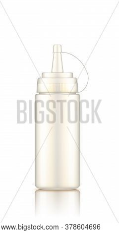 White Plastic Squeeze Mayonnaise Bottle With Cap Mockup