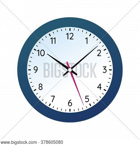 Classic Round Wall Clock In Black Body. Analog Office Clock Face With Numbers. Conception Of Punctua