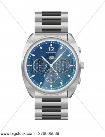 Elegant Chrome Wrist Watch. Steel Watch Chronograph. Conception Of Punctuality, Accuracy And Time Me