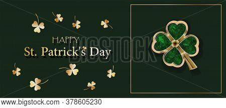 Clover Sheet On A Green Background. Jewelery. Golden Clover. Chic Postcard For Saint Patricks Day. H