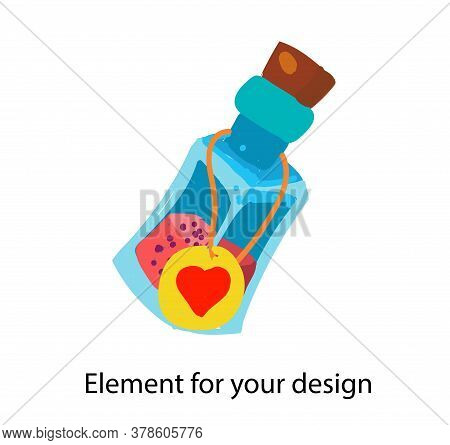 Bottle Of Witchcraft Magic Potion. Glass Tube With Label. Illustration Isolated On A White Backgroun