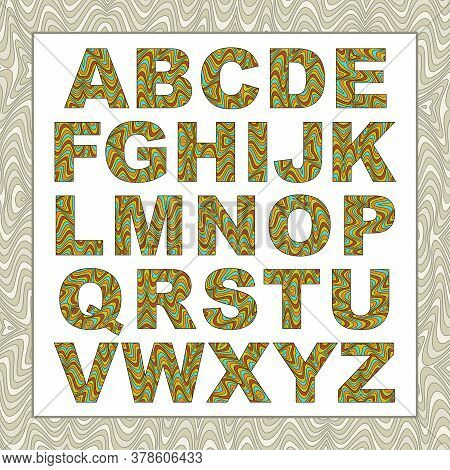 Vector Abstract Alphabet With Distortion Effect. Cartoon Letters With Wavy Lines Color Filling. Uppe
