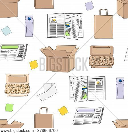 Seamless Pattern Of Paper And Cardboard. Recycle Concept.