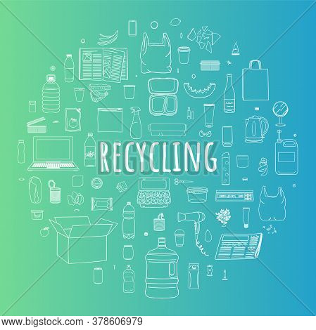 Set Of Sorted Garbage In Circle. Waste Management