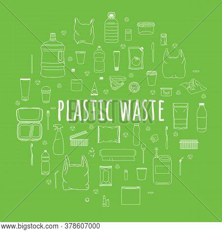 Set Of Plastic Garbage In Circle. Sorting Garbage.