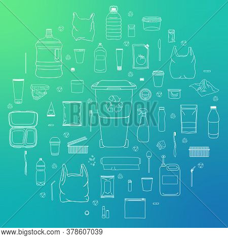 Set Of Plastic Garbage With Plastic Can
