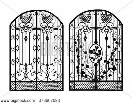 The Gate Forged. Metal Grill. Artistic Forging. Iron. Illustration.
