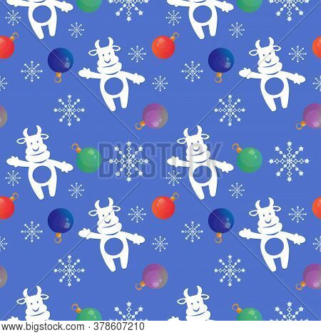 Seamless Pattern With 2021 Chinese New Year Symbol Bull, Snowflakes And Christmas Tree Baubles. Vect
