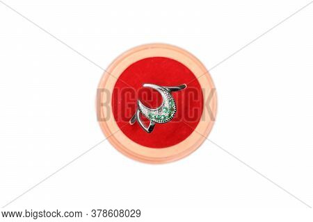 New Attractive Crescent Platinum Ring On Isolate White Background