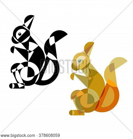 Abstract Geometrical Style Squirrel. Color And Black Variation. Vector Isolated Icons
