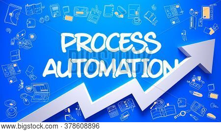 Process Automation - Modern Style Illustration With Doodle Design Elements. Process Automation Inscr