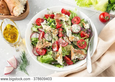 Vegetarian Delicious Fattoush Salad. Traditional Middle Eastern Salad. Lebanese Cuisine
