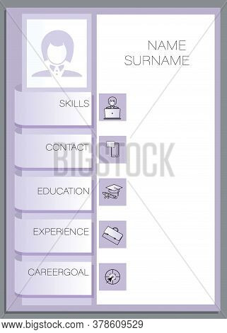 Vector Resume Female Template. Design Creative, Professional Summary. Displaying Your Profile.