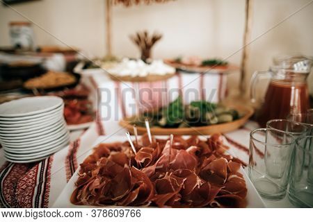 Meat Snacks At A Wedding Ceremony In A Restaurant.  Catering Table