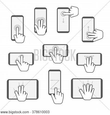 Hand Touchscreen Gestures Sign Device Icon Set. Vector Illustration Of Touch Screen And Gesture On D