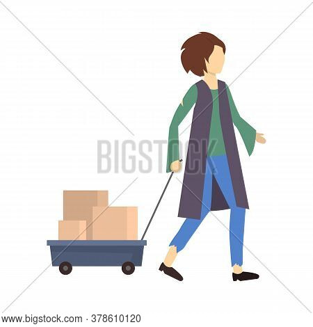 Cartoon Color Character Homeless Person Walking Needy In Social Help Concept. Vector Illustration Of