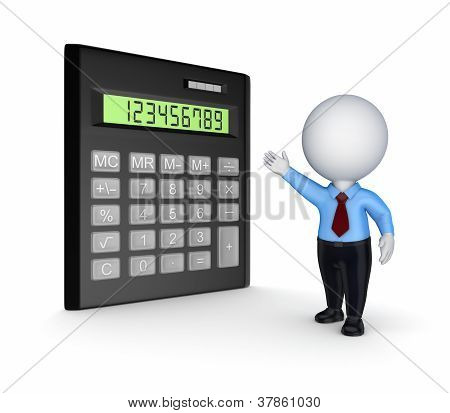 Calculator and 3d small person.