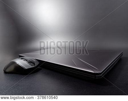 Slim Trendy Design Modern Laptop On Dark Background