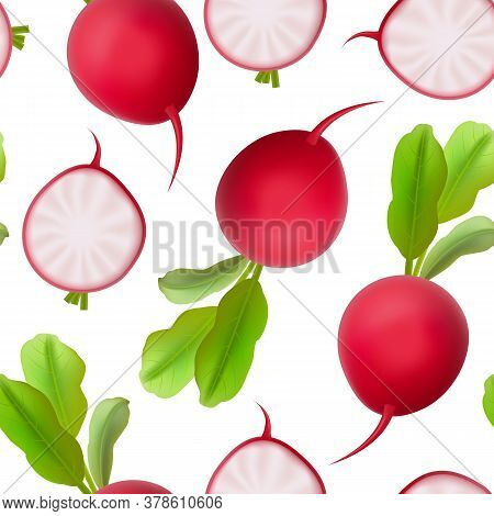 Realistic 3d Detailed Fresh Whole Radishes Seamless Pattern Background On A White. Vector Illustrati