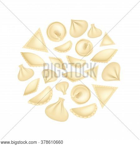 Realistic 3d Detailed Dumplings Concept Round Design Template Traditional Tasty Food Asian Homemade