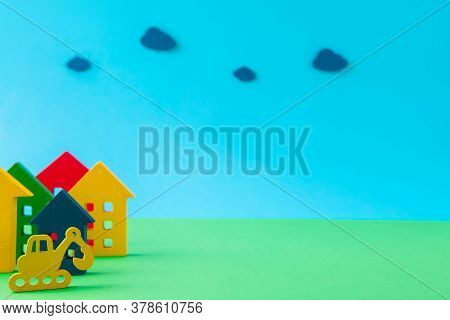 Art Design Picture Of Nice New Settlement Cottage Excavator Digger Making Building Hotel Guest House