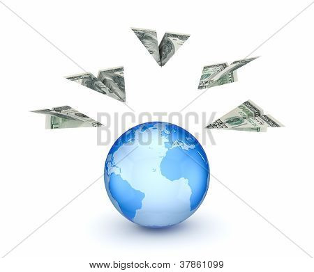 Paperplanes made from dollars and a globe.