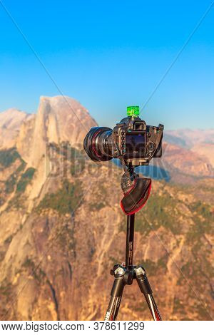 Yosemite, California, United States - July 23, 2019: Time-lapse And Panoramic Photography At Glacier