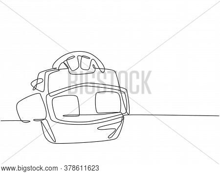 One Single Line Drawing Of Retro Old Classic Viewmaster With Film Reel. Vintage Stereoscope Kids Toy
