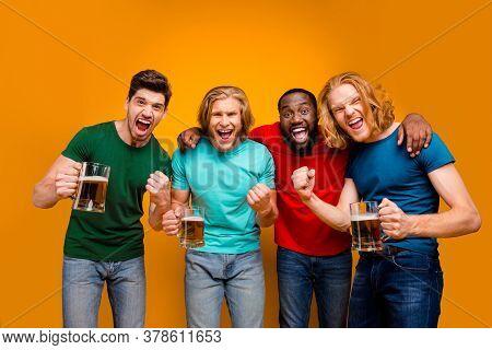 Ecstatic Crazy Four Buddies Men In Bar Watch Football World Cup Hold Pint Mug Celebrate National Tea