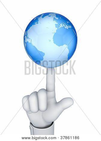 Globe on a finger.