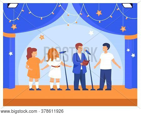 Children Performing At School Party Or Concert. Band Of Boys And Girls Singing With Microphones On S
