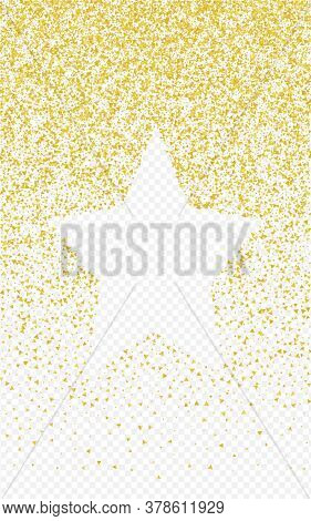 Yellow Dust Christmas Transparent Background. Luxury Shard Texture. Gold Triangle Festive Illustrati