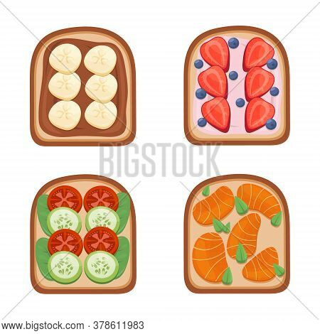 Toast Breackfast Vector Illustration. Toasted Sandwiches Collection.toasts With Different Ingredient