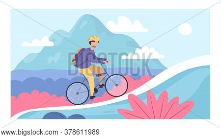 People Go Cycling. Bike Tourism Baners. Cycle Sport And Mountain Bike Races. Bicycle Riding Adventur