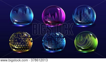 Broken Bubble Shields, Damaged Protection Force Fields. Vector Realistic Set Of Cracked Safety Energ