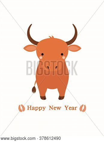 2021 Chinese New Year Vector Illustration With Cute Cartoon Ox, Hoof Prints, Typography, Isolated On