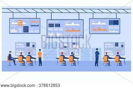 Big Data Control Center. Stock Market Brokers Analyzing Financial Graphs On Screens. Data Security E