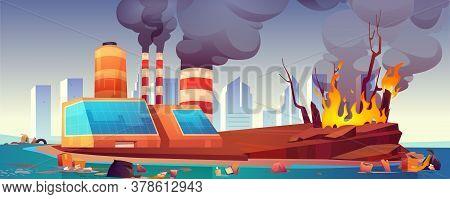 Environment Disaster, Air And Ocean Pollution, Deforestation. Vector Cartoon Illustration With Black